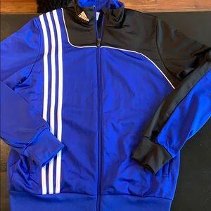 Adidas blue black athletic jacket Youth Large